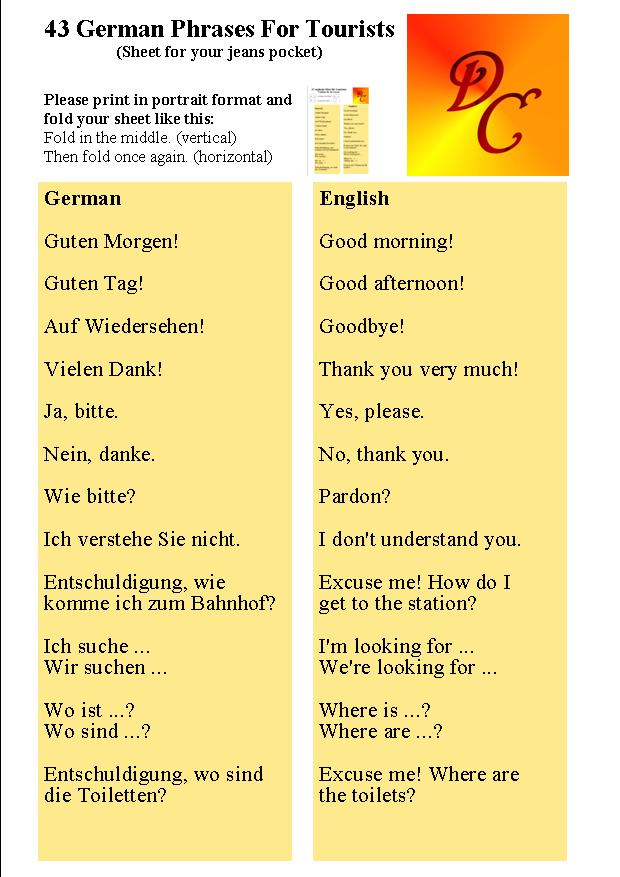 43 German Phrases For Tourists - 1. General Phrases